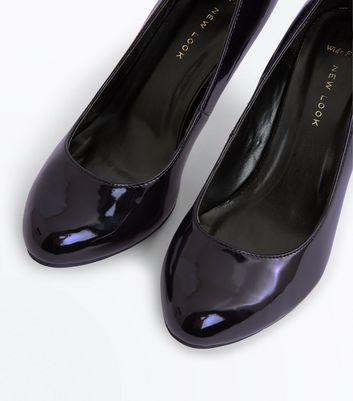 Wide Fit Black Patent Round Toe Court Shoes New Look