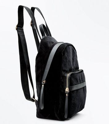 Black Velvet Backpack New Look