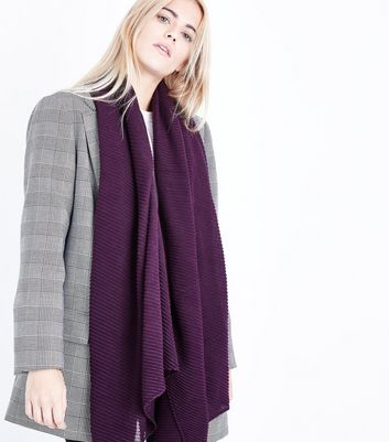 Burgundy Rib Scarf New Look