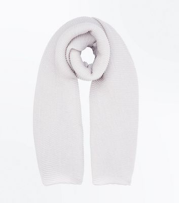 Cream Ribbed Scarf New Look