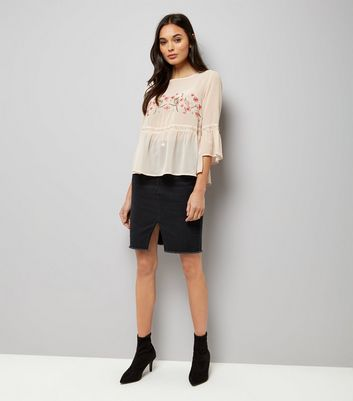 Cameo Rose Pink Floral Embroidered Peplum Top New Look