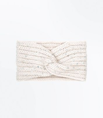 Cream Embellished Twist Front Knitted Headband New Look