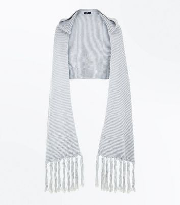 Grey Knit Hooded Scarf New Look