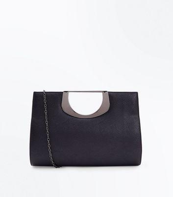 Black Faux Snakeskin Metal Handle Bag New Look
