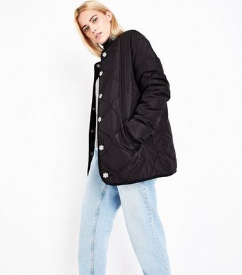 Black Collarless Quilted Jacket New Look