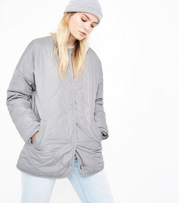 Grey Collarless Quilted Jacket New Look
