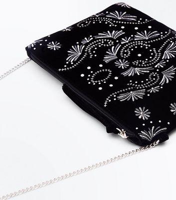 Black Embroidered Velvet Clutch New Look