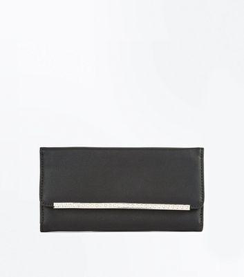 Black Diamante Bar Front Foldover Purse New Look
