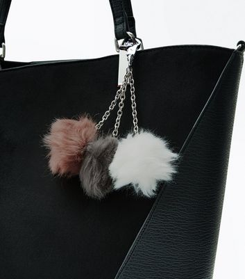 Multi Coloured Faux Fur Pom Pom Trio Keyring New Look