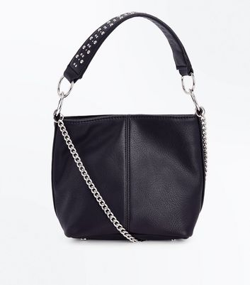 Black Stud Handle Bucket Bag New Look