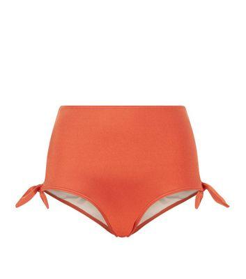Dark Red Tie Side High Waisted Bikini Bottoms New Look