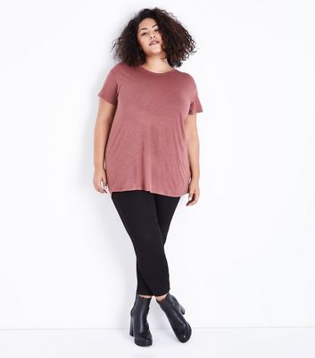 Curves Mink Short Sleeve Oversized T-Shirt New Look