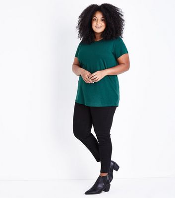 Curves Dark Green Short Sleeve Oversized T-Shirt New Look