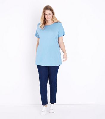 Curves Blue Short Sleeve Oversized T-Shirt New Look