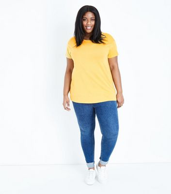 Curves Yellow Short Sleeve Oversized T-Shirt New Look