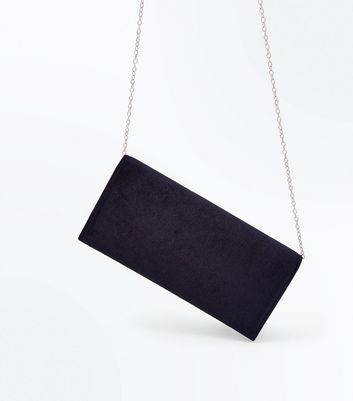 Black Velvet Clutch New Look