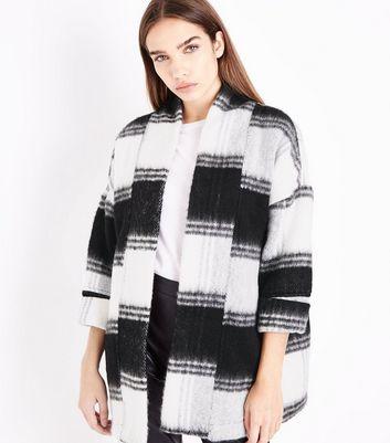 Black Brushed Check Kimono Jacket New Look