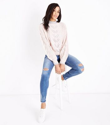 Tall Blue Ripped Fray Hem Skinny Jeans New Look