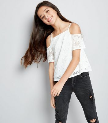 Teens Cream Lace Cold Shoulder Top New Look