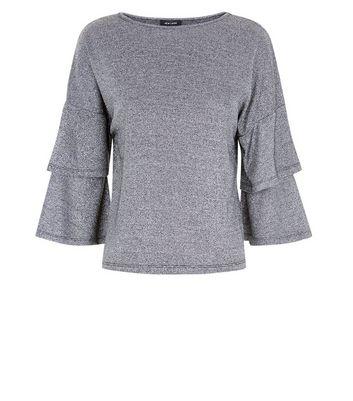 Black Metallic Tiered Sleeve Fine Knit Top New Look