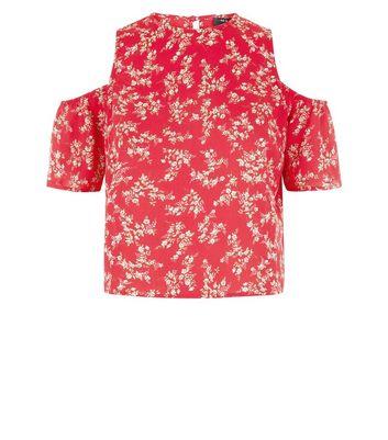 Teens Red Floral Cold Shoulder Top New Look