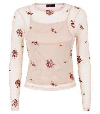 Teens Pink Floral Embroidered Mesh Top New Look