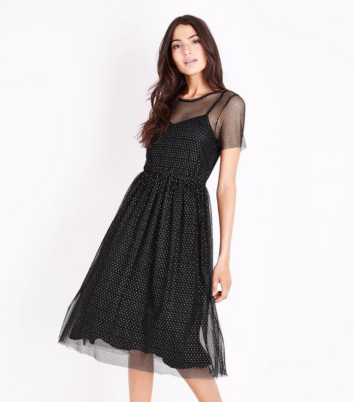 23bc89704a36 Black Metallic Spot Mesh Midi Dress | New Look