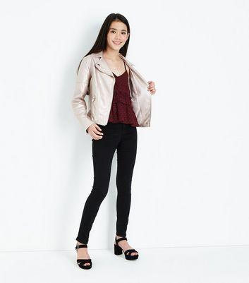 Teens Burgundy Spot Shirred Cami Top New Look