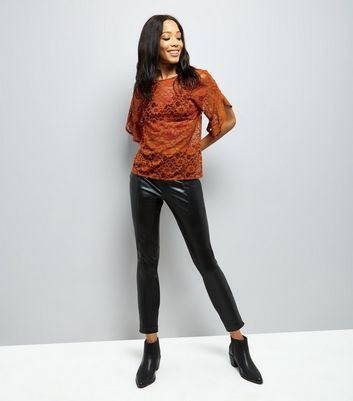 Rust Lace Split Frill Sleeve Top New Look