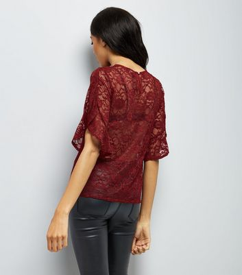 Burgundy Lace Split Frill Sleeve Top New Look