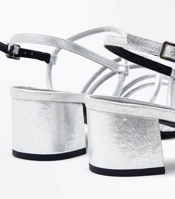 Wide Fit Silver Metallic Strappy Block Heel Sandals New Look