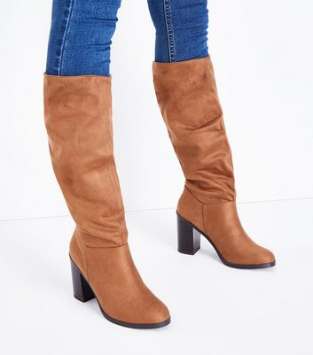 Tan Suedette Block Heel Knee High Boots New Look
