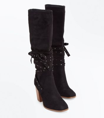 Black Suedette Stud Tie Knee High Boots New Look