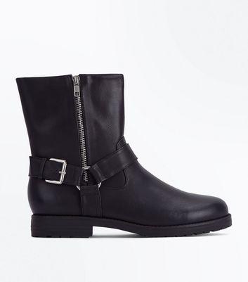 Black Stirrup Side Mid Calf Biker Boots New Look