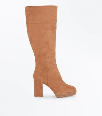 Tan Suedette Cleated Sole Knee High Boots New Look