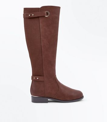 Brown Eyelet Strap Elastic Back Knee High Boots New Look