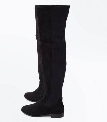 Black Suedette Flat Over the Knee Boots New Look