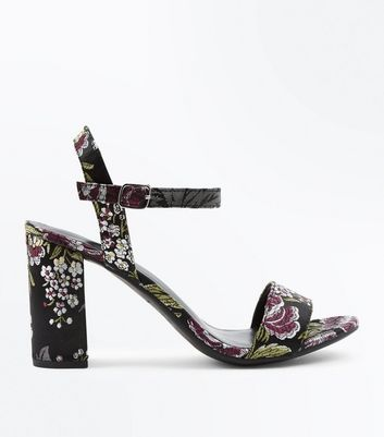 Black Satin Floral Brocade Block Heel Sandals New Look