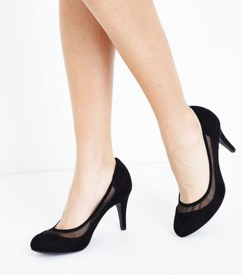 Wide Fit Black Suedette Mesh Trim Court Shoes New Look