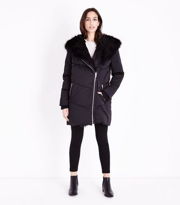 Black Faux Fur Trim Asymmetric Puffer Jacket New Look