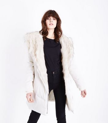 Cream Faux Fur Trim Asymmetric Puffer Jacket New Look
