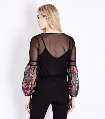 Black Floral Embroidered Mesh Bell Sleeve Top New Look