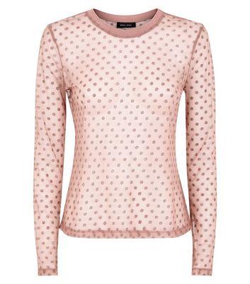 Pink Glitter Spot Mesh Top New Look