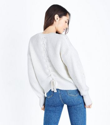 Cream Pointelle Lace Up Back Jumper New Look
