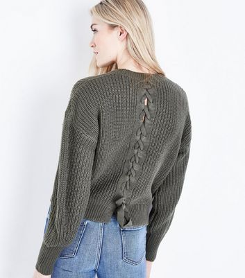 Olive Pointelle Lace Up Back Jumper New Look