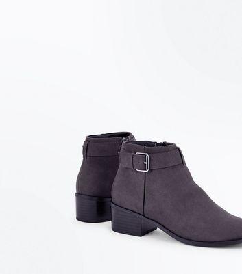 Grey Comfort Suedette Buckle Side Boots New Look
