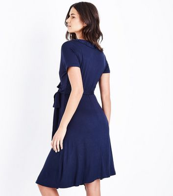 Maternity Navy Blue Frill Trim Wrap Front Dress New Look