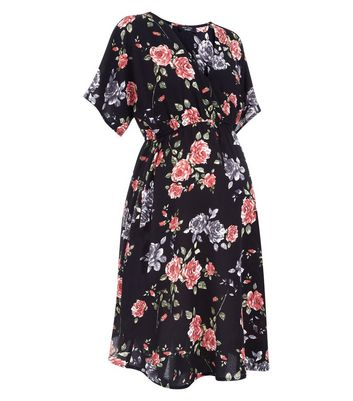 Maternity Black Floral Wrap Dress New Look