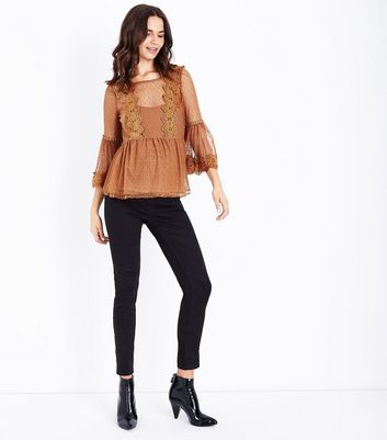 Maternity Rust Bell Sleeve Double Peplum Lace Top New Look