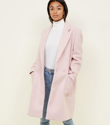 Petite Pink Boucle Cocoon Coat New Look